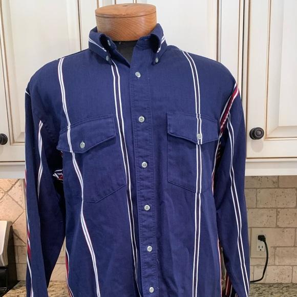 Vintage WRANGLER Striped Blue/Red Button Up Shirt